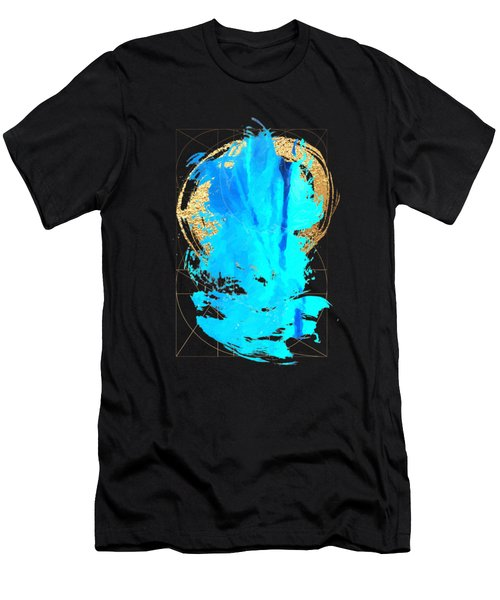 Men's T-Shirt (Slim Fit) featuring the digital art Aqua Gold No. 4 by Serge Averbukh