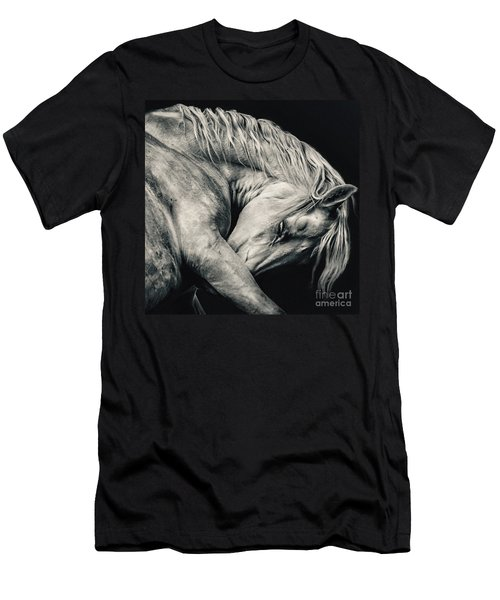 Arabian Beauty White Horse Portrait Men's T-Shirt (Athletic Fit)