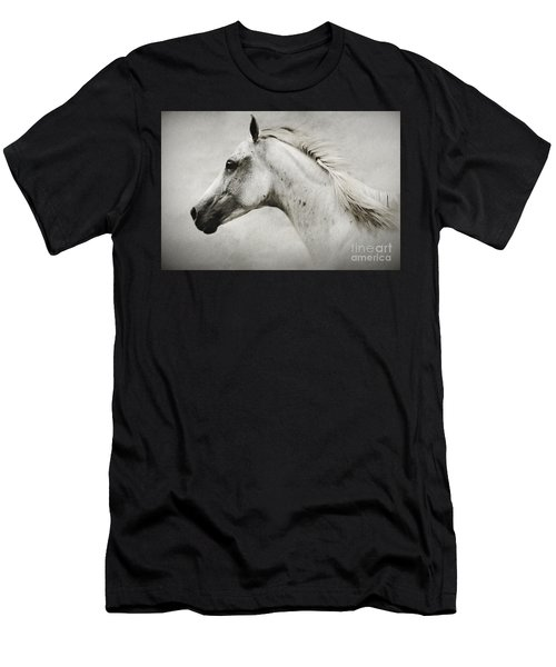 Arabian White Horse Portrait Men's T-Shirt (Athletic Fit)