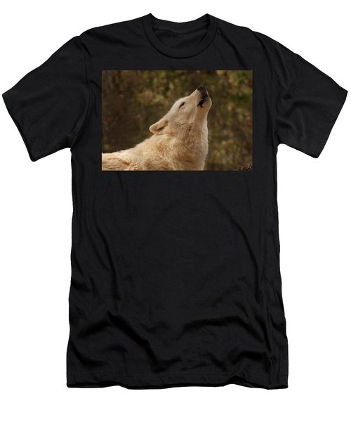 Men's T-Shirt (Athletic Fit) featuring the photograph Arctic Wolf Howling by Chris Flees