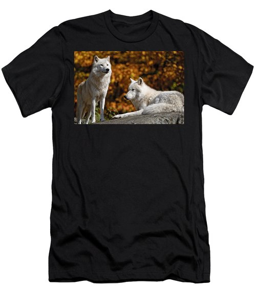 Men's T-Shirt (Slim Fit) featuring the photograph Arctic Wolves On Rocks by Michael Cummings