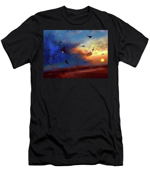 Men's T-Shirt (Slim Fit) featuring the painting Area 51 Groom Lake by Dave Luebbert
