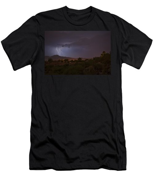Men's T-Shirt (Slim Fit) featuring the photograph Arizona Monsoon Lightning by Dan McManus