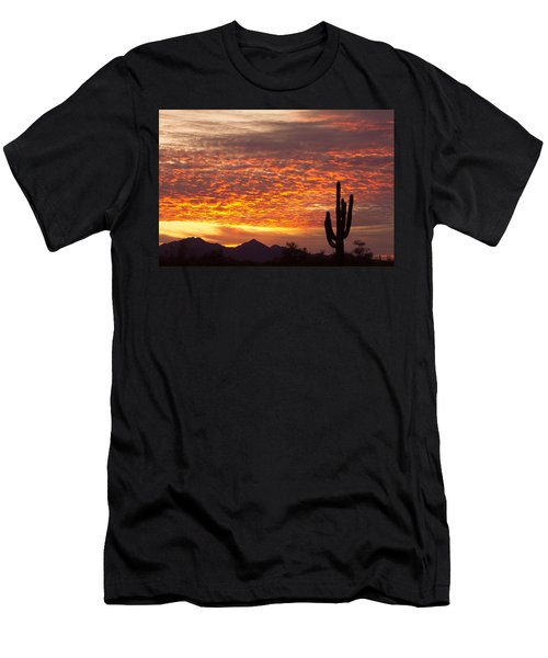 Arizona November Sunrise With Saguaro   Men's T-Shirt (Athletic Fit)