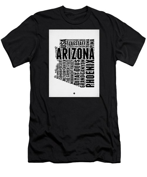Arizona Word Cloud Map 2 Men's T-Shirt (Slim Fit) by Naxart Studio