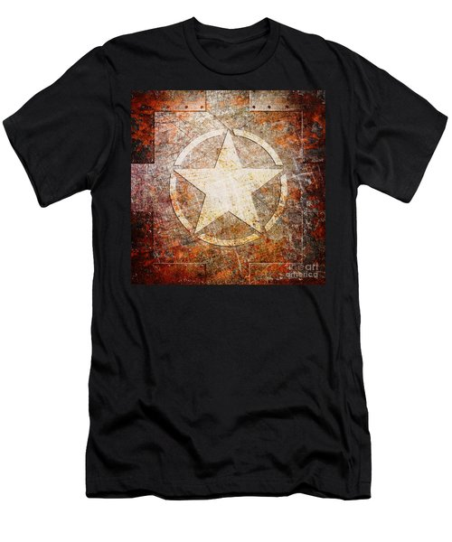 Army Star On Rust Men's T-Shirt (Athletic Fit)