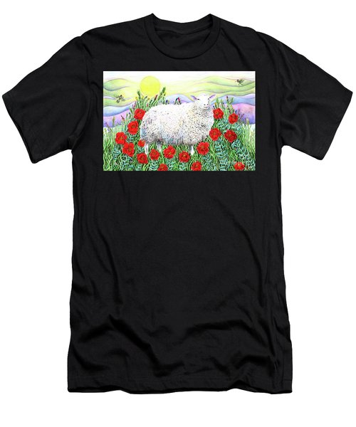 Men's T-Shirt (Athletic Fit) featuring the painting Arrival Of The Hummingbirds by Lise Winne