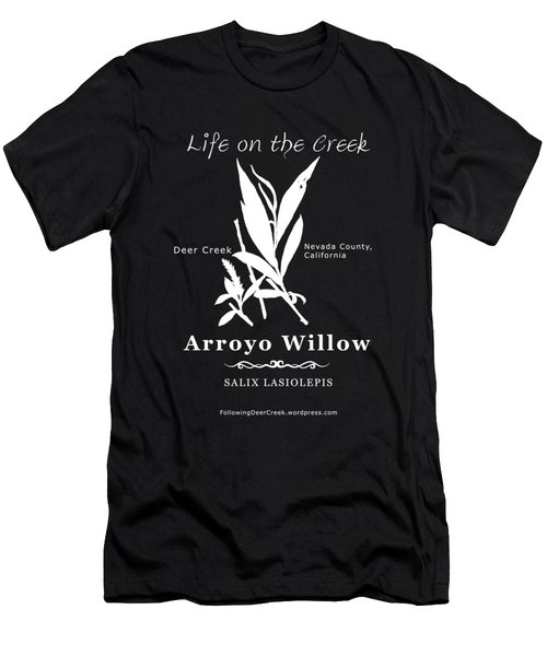 Arroyo Willow - White Text Men's T-Shirt (Athletic Fit)