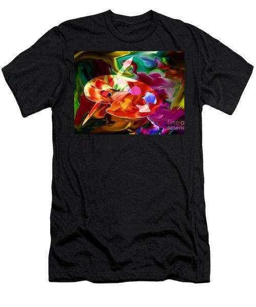 Artist Palette In Neon Colors Men's T-Shirt (Slim Fit) by Annie Zeno
