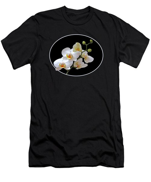 White Orchids On Black Men's T-Shirt (Athletic Fit)