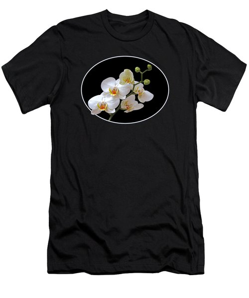 White Orchids On Black Men's T-Shirt (Athletic Fit)