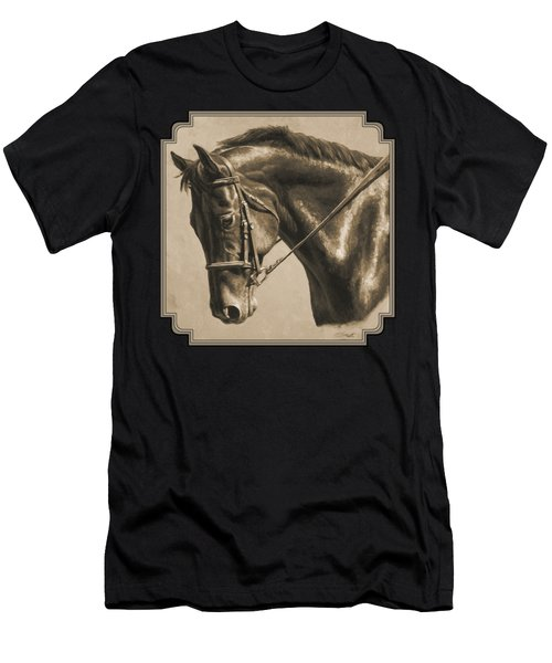 Horse Painting - Focus In Sepia Men's T-Shirt (Athletic Fit)