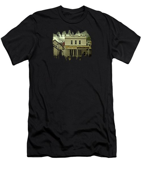 Men's T-Shirt (Slim Fit) featuring the photograph The Eagle Theater And Skalet Family Jewelers Old Sacramento by Thom Zehrfeld