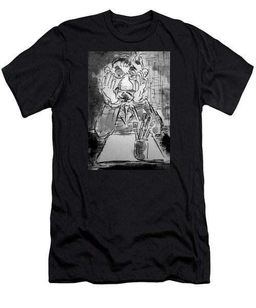 Men's T-Shirt (Slim Fit) featuring the painting Old Geezer Grappling With A White Sheet Of Paper by Alfred Motzer