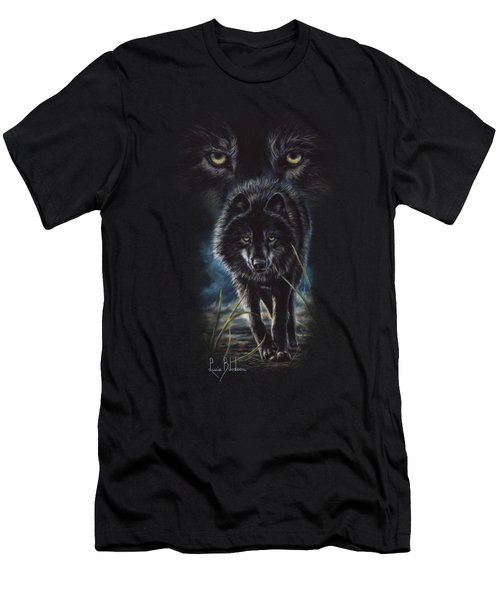 Black Wolf Hunting Men's T-Shirt (Slim Fit) by Lucie Bilodeau