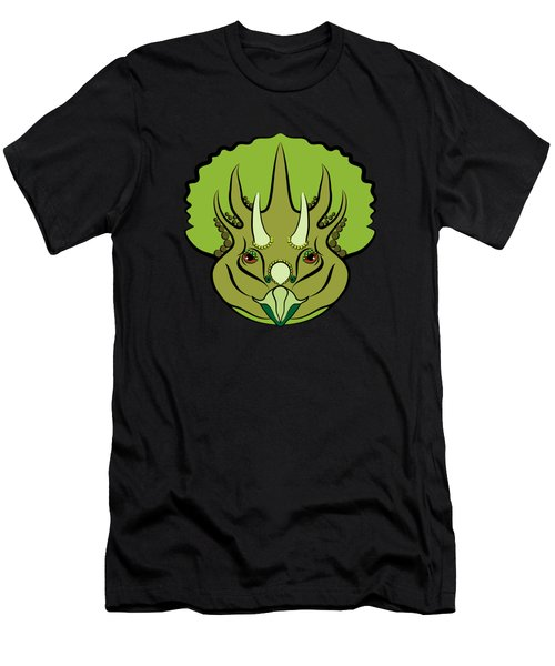 Triceratops Graphic Green Men's T-Shirt (Athletic Fit)