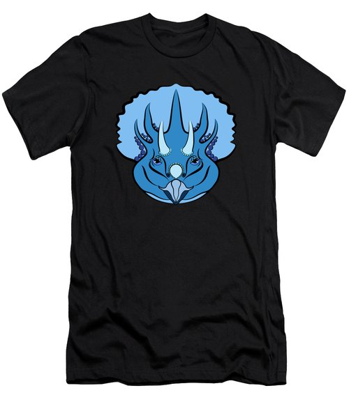 Triceratops Graphic Blue Men's T-Shirt (Athletic Fit)