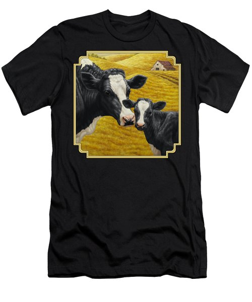 Holstein Cow And Calf Farm Men's T-Shirt (Athletic Fit)