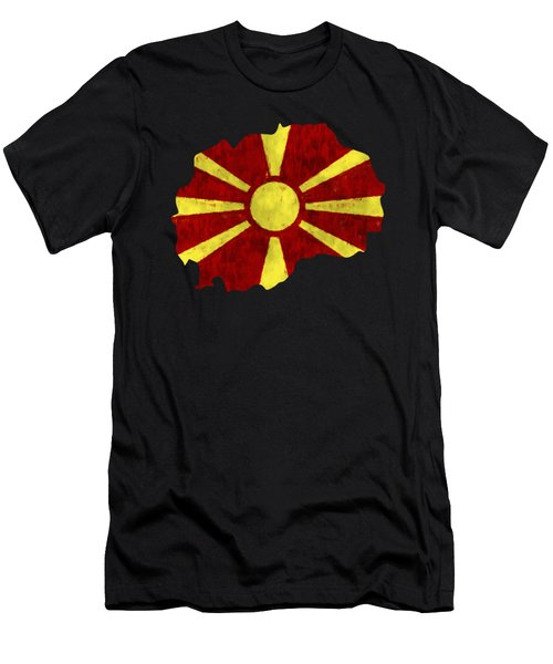 Macedonia Map Art With Flag Design Men's T-Shirt (Athletic Fit)