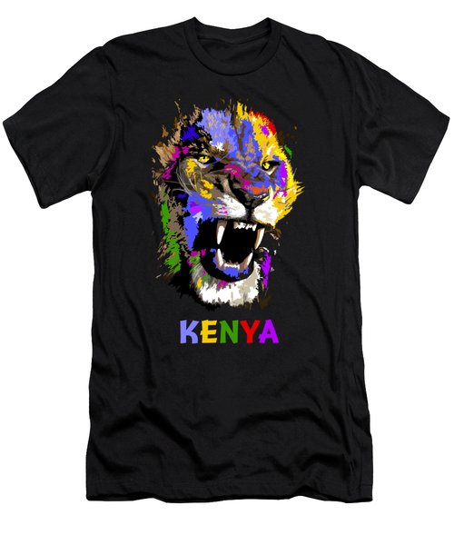 Cat Snarl Men's T-Shirt (Slim Fit) by Anthony Mwangi