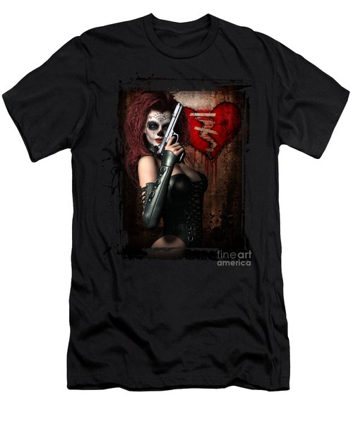 Men's T-Shirt (Slim Fit) featuring the digital art Sugar Doll Long Night Of The Dead by Shanina Conway