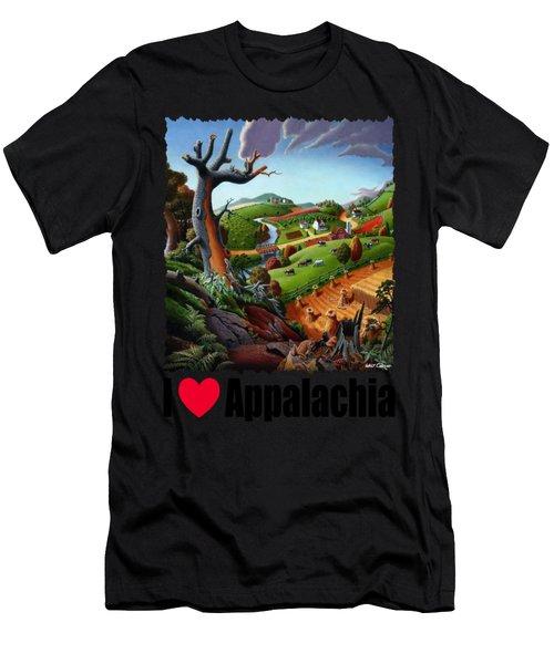 I Love Appalachia - Appalachian Wheat Field Harvest Rural Landscape Men's T-Shirt (Athletic Fit)