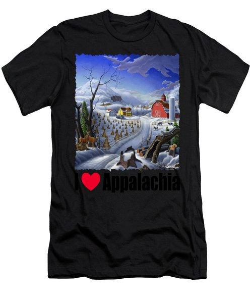I Love Appalachia - Appalachian Rural Winter Farm Landscape Men's T-Shirt (Athletic Fit)