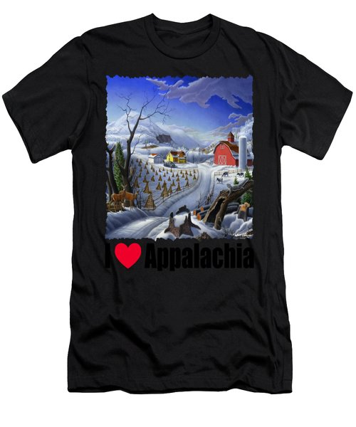 I Love Appalachia - Appalachian Rural Winter Farm Landscape Men's T-Shirt (Athletic Fit)
