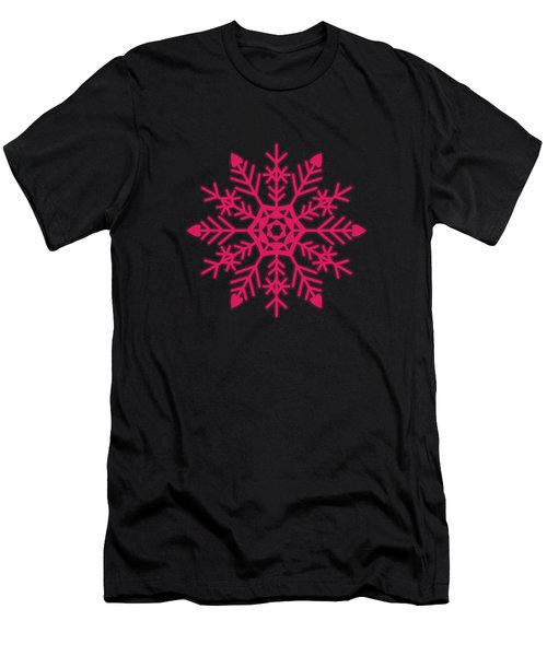 Snowflakes Rubine Red And White Men's T-Shirt (Athletic Fit)