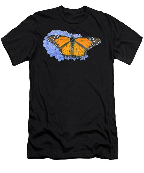 Monarch Butterfly And Hydrangea- Transparent Background Men's T-Shirt (Athletic Fit)
