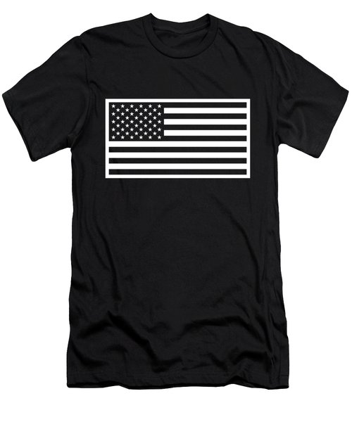 American Flag - Black And White Version Men's T-Shirt (Athletic Fit)