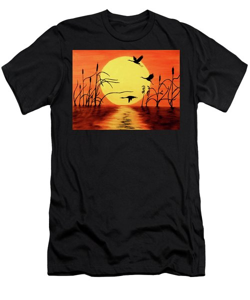 Sunset Geese Men's T-Shirt (Athletic Fit)