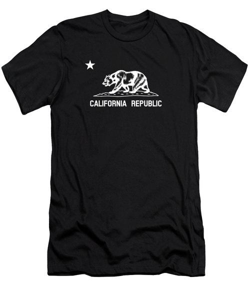 The Bear Flag - Black And White Men's T-Shirt (Athletic Fit)