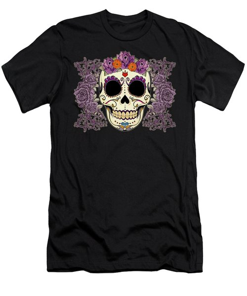 Vintage Sugar Skull And Roses Men's T-Shirt (Athletic Fit)