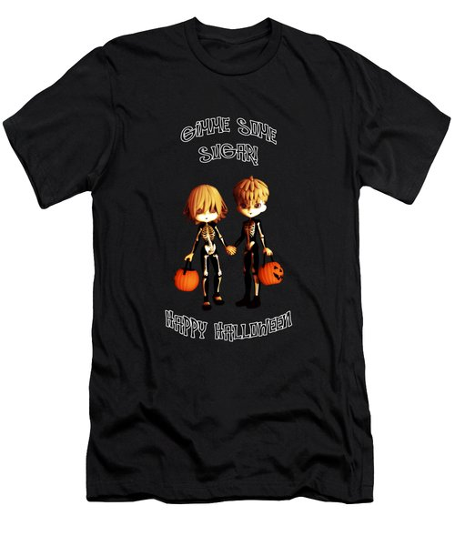 Men's T-Shirt (Slim Fit) featuring the digital art Skeleton Twinz Halloween by Methune Hively