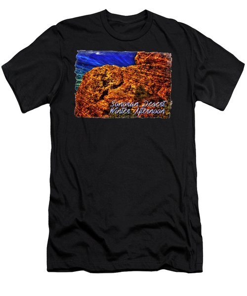 Navajo Sandstone And Cirrus Clouds Men's T-Shirt (Athletic Fit)