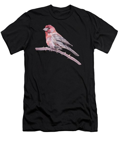 Men's T-Shirt (Athletic Fit) featuring the painting House Finch Watercolor by Angeles M Pomata