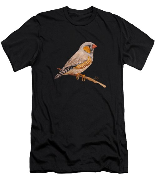 Men's T-Shirt (Athletic Fit) featuring the painting Zebra Finch by Angeles M Pomata