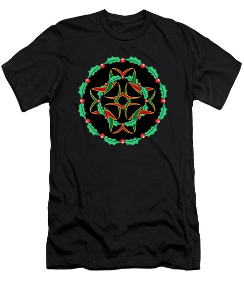Celtic Christmas Holly Wreath Men's T-Shirt (Slim Fit) by MM Anderson