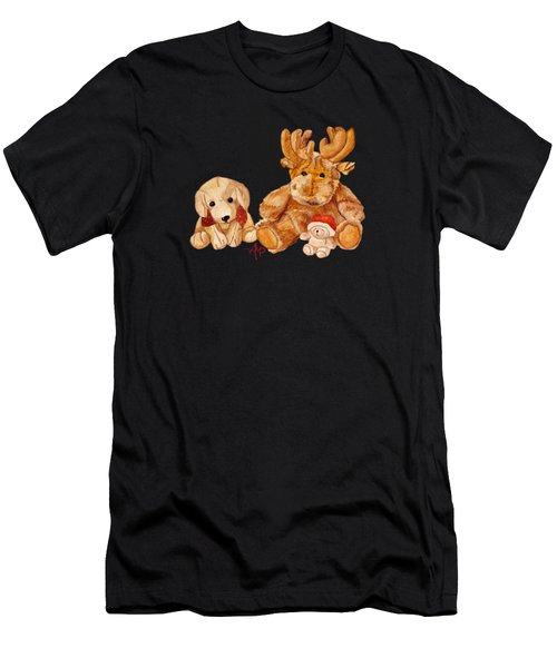 Men's T-Shirt (Athletic Fit) featuring the painting Christmas Buddies II by Angeles M Pomata