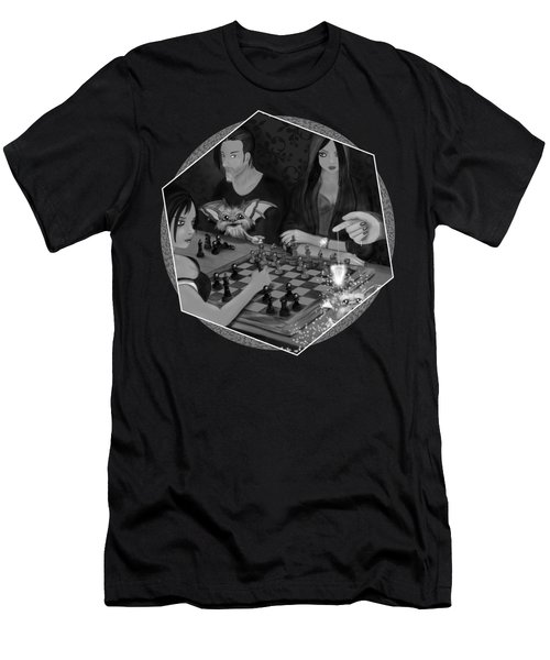 Unexpected Company - Black And White Fantasy Art Men's T-Shirt (Athletic Fit)