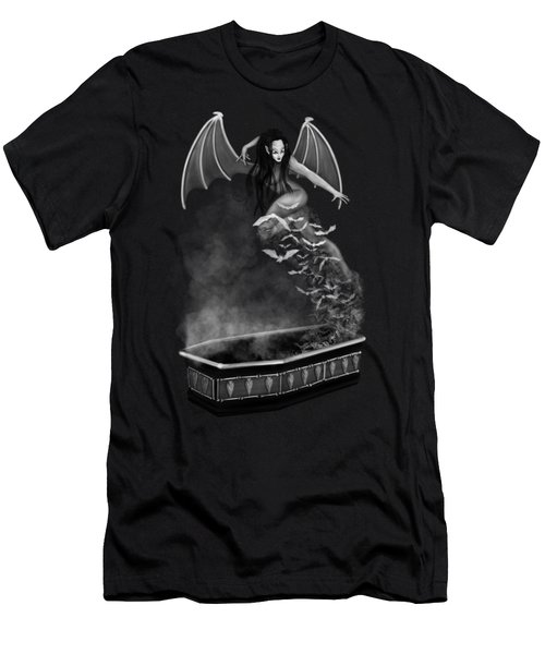 Always Awake - Black And White Fantasy Art Men's T-Shirt (Athletic Fit)