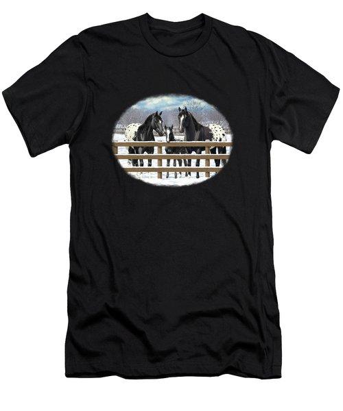 Black Appaloosa Horses In Snow Men's T-Shirt (Athletic Fit)
