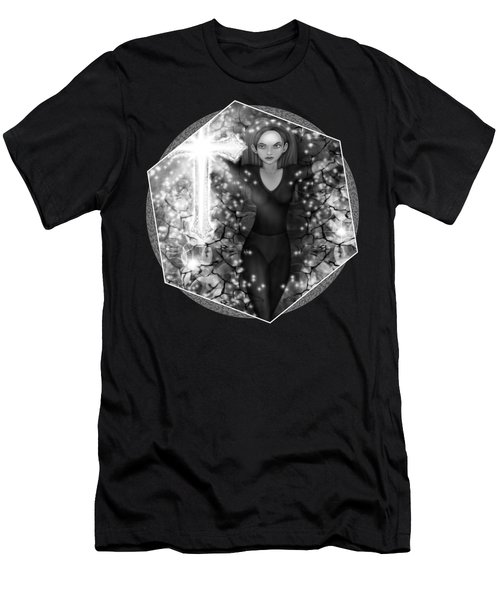 Breaking Through Darkness - Black And White Fantasy Art Men's T-Shirt (Athletic Fit)