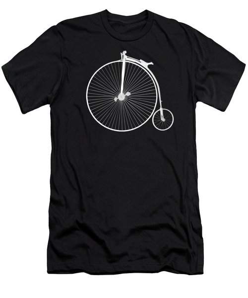 Penny Farthing White On Black Men's T-Shirt (Athletic Fit)