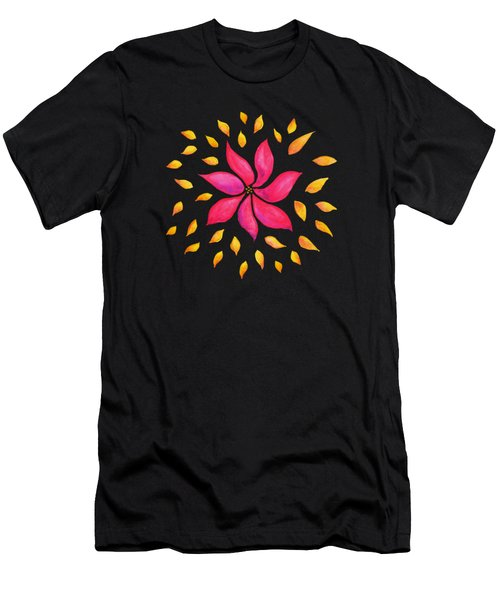 Abstract Whimsical Watercolor Pink Flower Men's T-Shirt (Athletic Fit)
