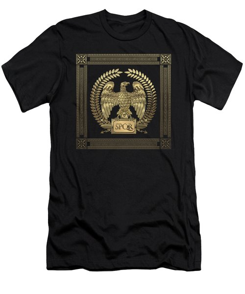 Roman Empire - Gold Imperial Eagle Over Red Velvet Men's T-Shirt (Athletic Fit)
