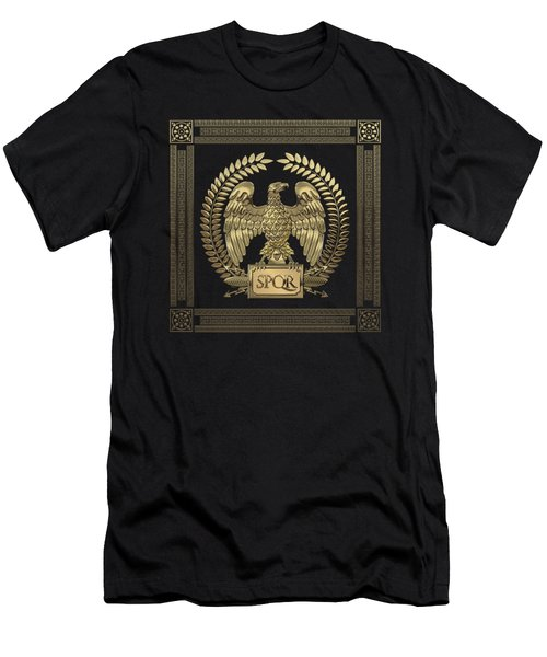 Roman Empire - Gold Imperial Eagle Over Red Velvet Men's T-Shirt (Athletic Fit)