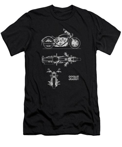 The Scout Motorcycle Blueprint Men's T-Shirt (Athletic Fit)