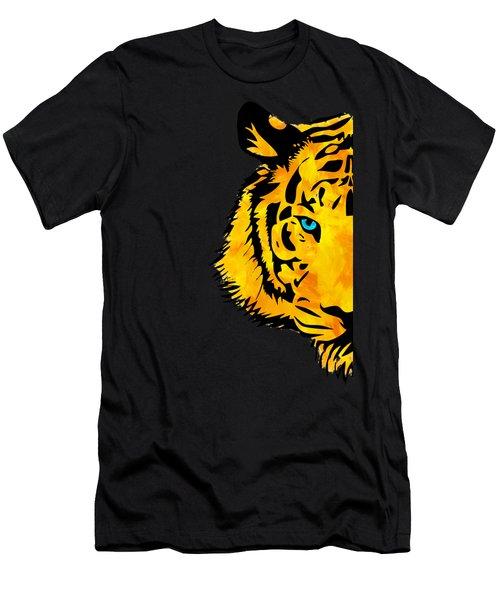 Half Tiger Digital Painting Men's T-Shirt (Athletic Fit)